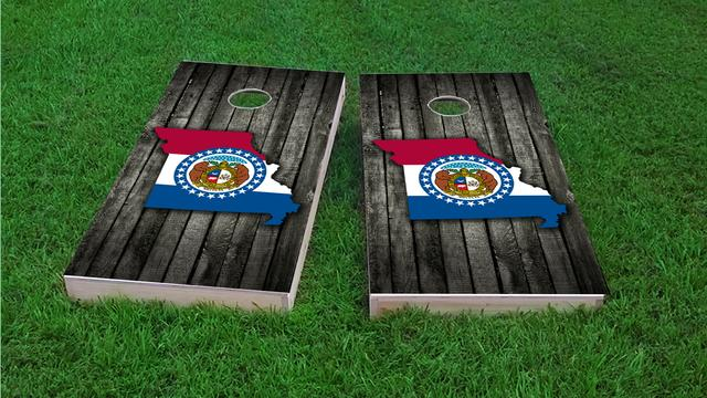 Wood Slate State Flag & Map (Missouri) Themed Custom Cornhole Board Design