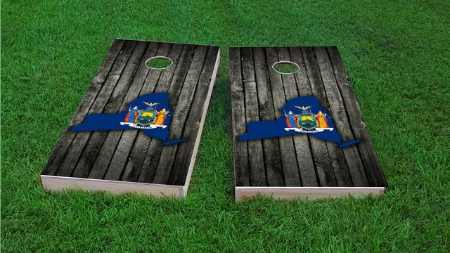 Wood Slate State Flag & Map (New York) Themed Custom Cornhole Board Design