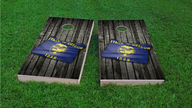 Wood Slate State Flag & Map (Oregon) Themed Custom Cornhole Board Design