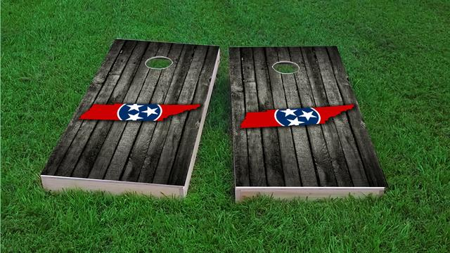 Wood Slate State Flag & Map (Tennessee) Themed Custom Cornhole Board Design
