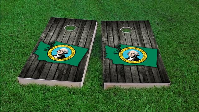 Wood Slate State Flag & Map (Washington) Themed Custom Cornhole Board Design