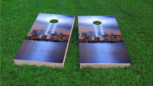September 11th Light Memorial #1 Themed Custom Cornhole Board