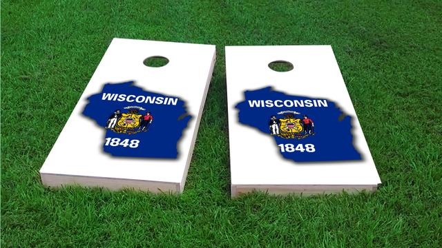 Wisconsin State Flag Outline (White Background) Themed Custom Cornhole Board Design