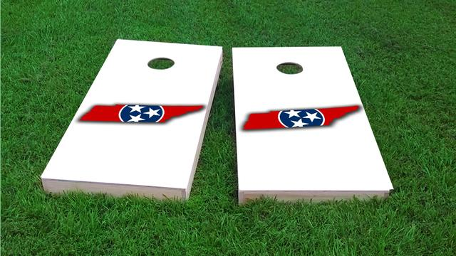 Tennessee State Flag Outline (White Background) Themed Custom Cornhole Board Design