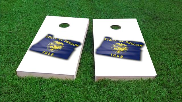 Oregon State Flag Outline (White Background)Themed Custom Cornhole Board Design