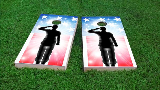 American Flag Soldier Salute Themed Custom Cornhole Board Design