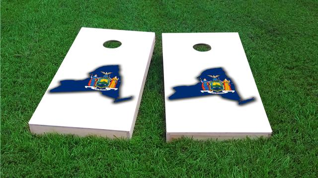 New York State Flag Outline (White Background) Themed Custom Cornhole Board Design