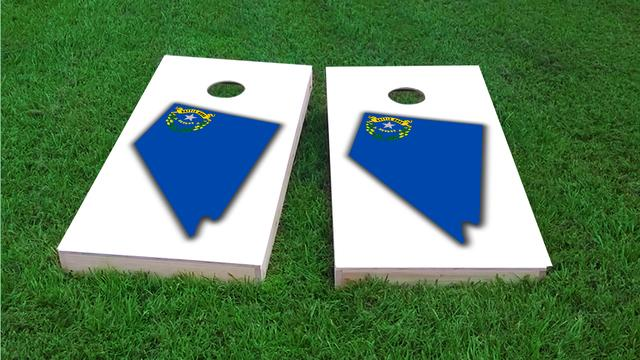 Nevada State Flag Outline (White Background) Themed Custom Cornhole Board Design