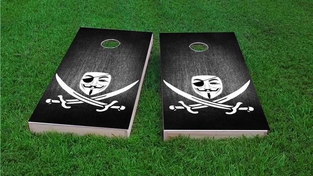 Anonymous Piracy Themed Custom Cornhole Board Design