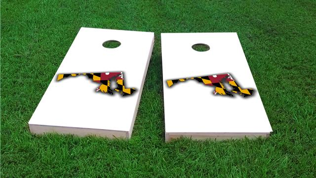 Maryland State Flag Outline (White Background) Themed Custom Cornhole Board Design