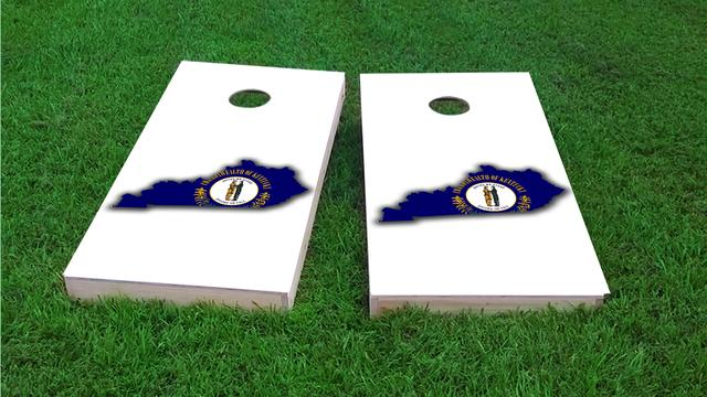 Kentucky State Flag Outline (White Background) Themed Custom Cornhole Board Design