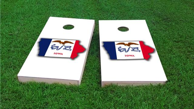 Iowa State Flag Outline (White Background)  Themed Custom Cornhole Board Design