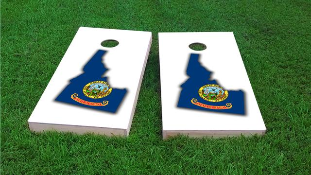 Idaho State Flag Outline (White Background) Themed Custom Cornhole Board Design