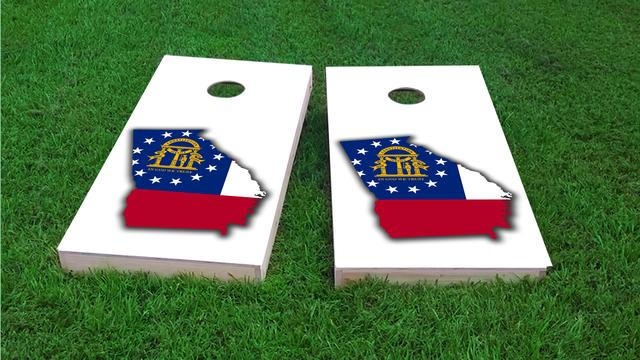 Georgia State Flag Outline (White Background) Themed Custom Cornhole Board Design