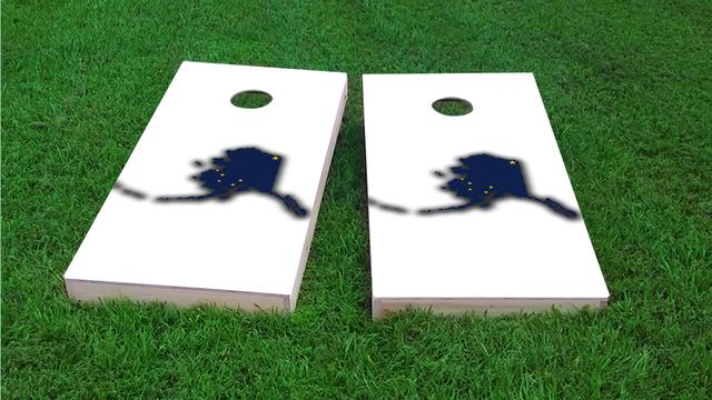 Alaska State Flag Outline (White Background) Themed Custom Cornhole Board Design