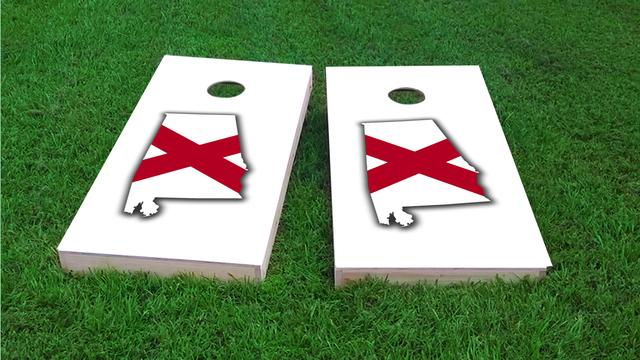 Alabama State Flag Outline (White Background) Themed Custom Cornhole Board Design