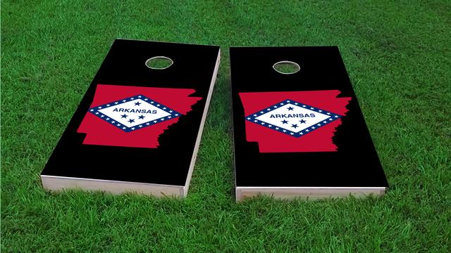 Arkansas State Flag Outline (Black Background) Themed Custom Cornhole Board Design
