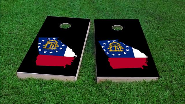 Georgia State Flag Outline (Black Background) Themed Custom Cornhole Board Design
