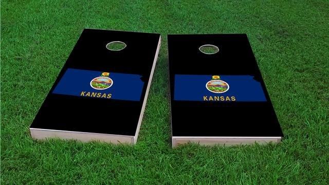 Kansas State Flag Outline (Black Background) Themed Custom Cornhole Board Design