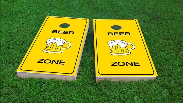 Bright Yellow Beer Zone Themed Custom Cornhole Board Design