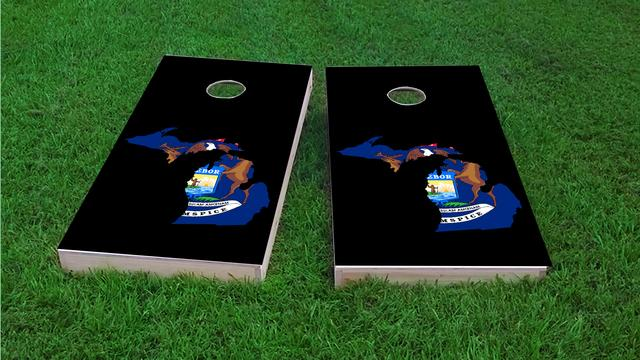 Michigan State Flag Outline (Black Background) Themed Custom Cornhole Board Design