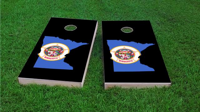 Minnesota State Flag Outline (Black Background) Themed Custom Cornhole Board Design