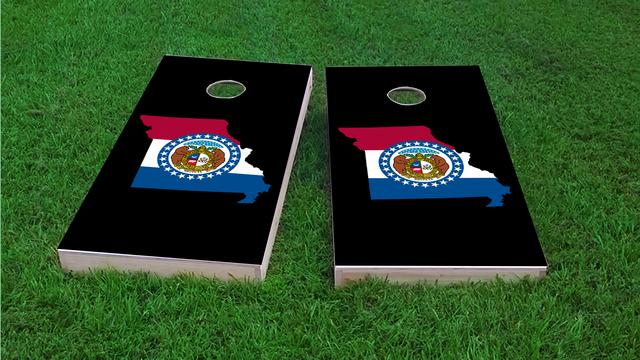 Missouri State Flag Outline (Black Background) Themed Custom Cornhole Board Design