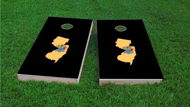 New Jersey State Flag Outline (Black Background) Themed Custom Cornhole Board Design