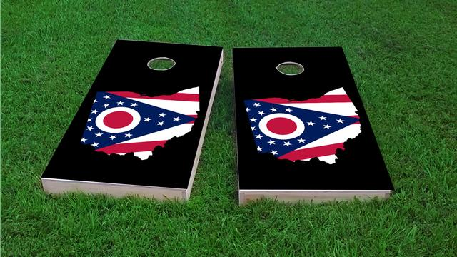 Ohio State Flag Outline (Black Background) Themed Custom Cornhole Board Design