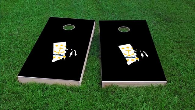 Rhode Island State Flag Outline (Black Background) Themed Custom Cornhole Board Design