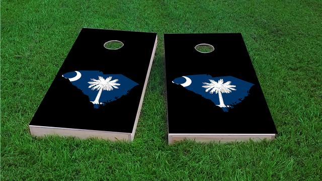 South Carolina State Flag Outline (Black Background) Themed Custom Cornhole Board Design