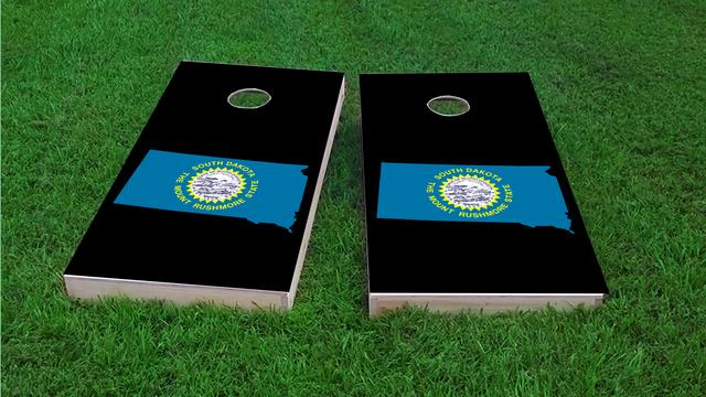 South Dakota State Flag Outline (Black Background) Themed Custom Cornhole Board Design