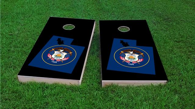 Utah State Flag Outline (Black Background) Themed Custom Cornhole Board Design