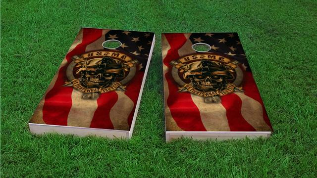 USMC We Fight What You Fear Themed Custom Cornhole Board Design