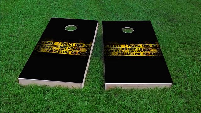 Police Line Do Not Cross Tape Themed Custom Cornhole Board Design
