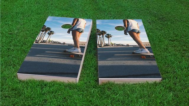 Sunny Day Skate Boarding Girl Themed Custom Cornhole Board Design