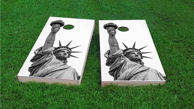 Lady Liberty Statue Themed Custom Cornhole Board Design
