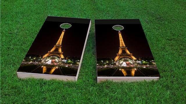 Eiffel Tower at Night in Paris France Themed Custom Cornhole Board Design