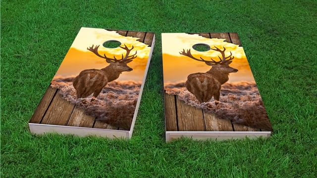 Torn Sunrise Buck With Wood Slat Background Themed Custom Cornhole Board Design