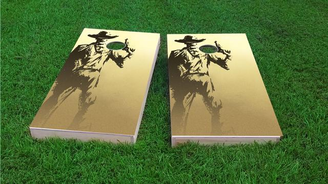 Old Time Gun Holding Cowboy Themed Custom Cornhole Board Design