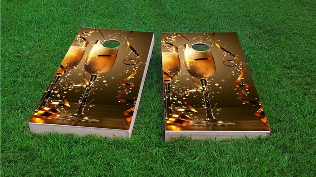 Champagne Celebration Toast Themed Custom Cornhole Board Design