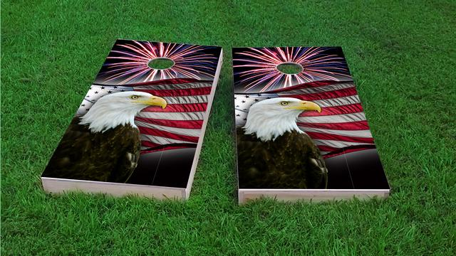 American Bald Eagle With Fireworks Themed Custom Cornhole Board Design