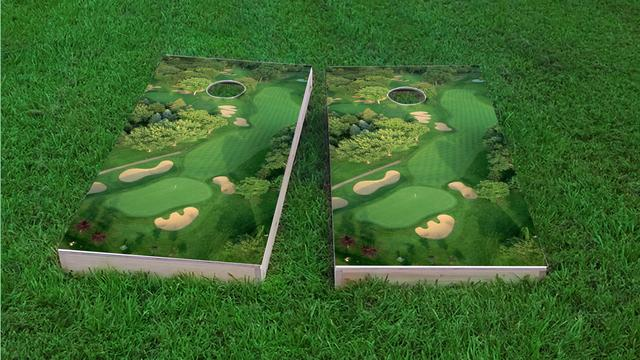 Golf Course Flyover Custom Cornhole Board Design