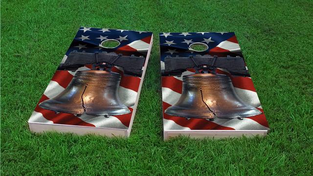 Cracked Liberty Bell Over-top American Flag Themed Custom Cornhole Board Design