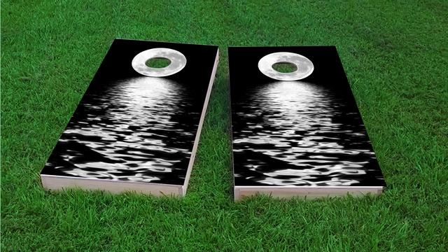 Full Moon Over The Water Themed Custom Cornhole Board Design