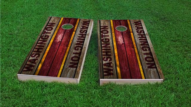 Woodslat Worn Washington Football Themed Custom Cornhole Board Design