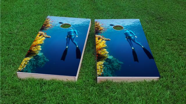 Girl Scuba Diving by Reef Themed Custom Cornhole Board Design