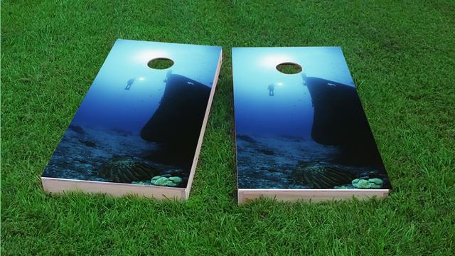 Scuba Diving a Shipwreck Themed Custom Cornhole Board Design