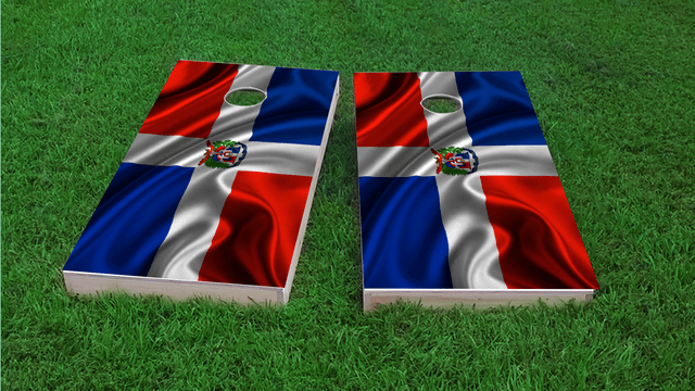 Dominican Flag Themed Custom Cornhole Board Design