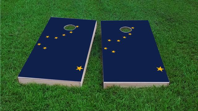 Alaska State Flag Themed Custom Cornhole Board Design